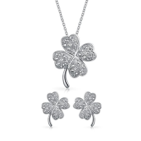 5a1448378 Shop Four Leaf Clover Shamrock Lucky Charm Pave Cubic Zirconia CZ Pendant  Earring Set Necklace for Women Sterling Silver - On Sale - Free Shipping  Today ...
