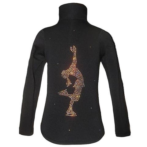 Ice Fire Skate Wear Black Layback Crystal Skate Jacket Girls 4-20