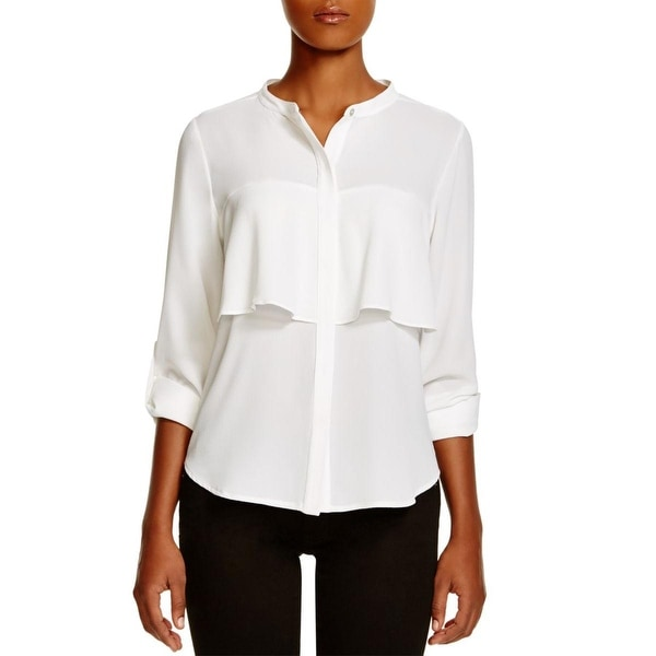 Status by Chenault Womens Button-Down Top Sheer Adjustable Sleeves