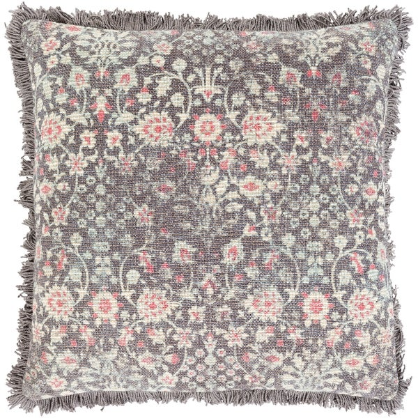 Millie Printed Floral Damask Cotton Throw Pillow. Opens flyout.