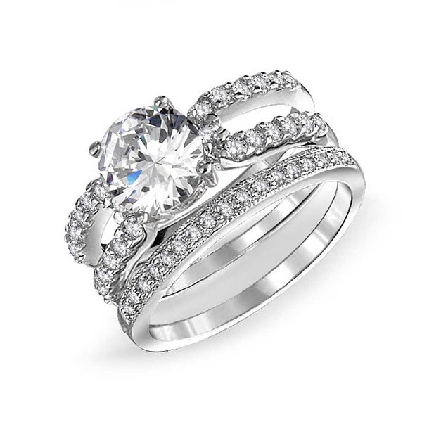 fee40e81828 Pave Cubic Zirconia Solitare 925 Sterling Silver Round Double Band CZ  Engagement Wedding Ring Set