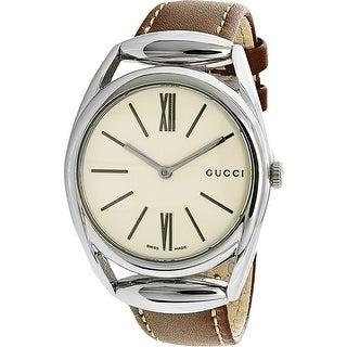 Gucci Women's YA140402 Brown Leather Swiss Quartz Fashion Watch