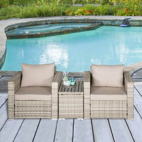Oustunny 3-Piece PE Rattan Outdoor Armchair Set with Reconfigurable Design, Soft Washable Cushions & Table