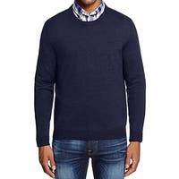 DESIGNER Blue Mens Size Medium M Crewneck Wool Knit Sweater