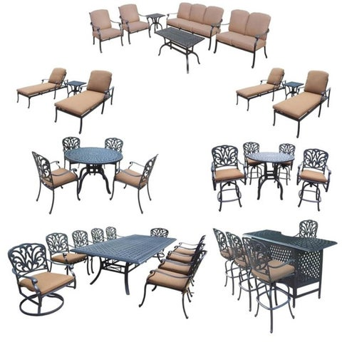 38-Piece Black Aluminum Hampton Patio Dining Outdoor Collection w/ Tan Sunbrella Cushions (7 Sets) - Brown