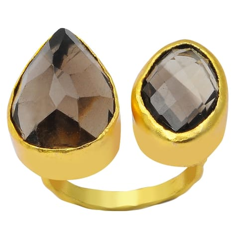 Smoky Quartz Brass Pear Fashion Ring by Orchid Jewelry
