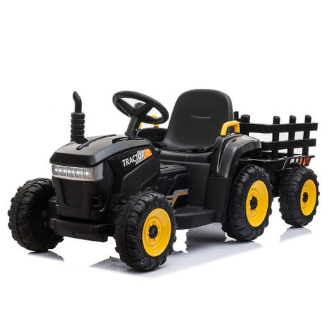 12Volt Battery-Powered Ride On Toy Tractor with Trailer LED Lights
