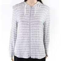 Roudelain NEW Gray Women's Size Medium M Striped Full Zip Sweater