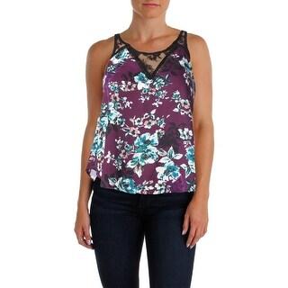 Aqua Womens Lace Trim Floral Print Casual Top