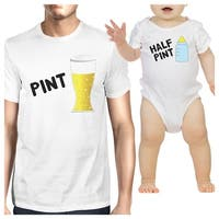 Pint Beer Half Pint Milk Dad and Baby Matching Graphic Tee Shirts