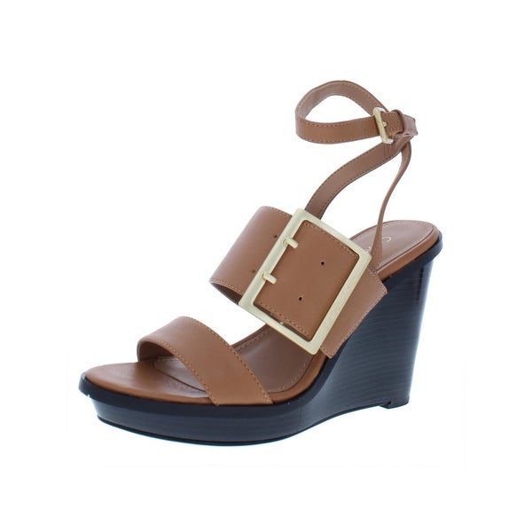 b5bff75cdbb Shop Calvin Klein Womens Pemba Wedge Sandals Leather Buckle - 5.5 ...