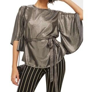 TopShop Women's Metallic Sequin Angel Sleeve Blouse