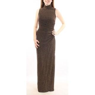 Womens Black Speckle Sleeveless Full Length Body Con Formal Dress Size: 2