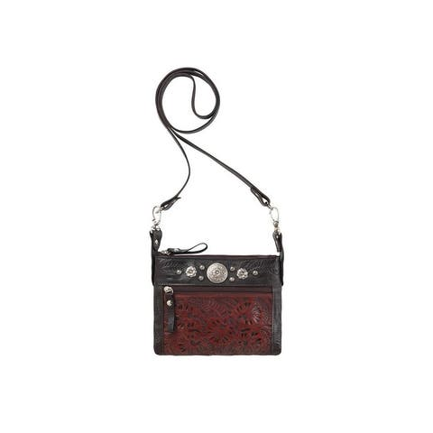 American West Western Handbag Trail Rider Crossbody Crimson - 8 x 6 x 1
