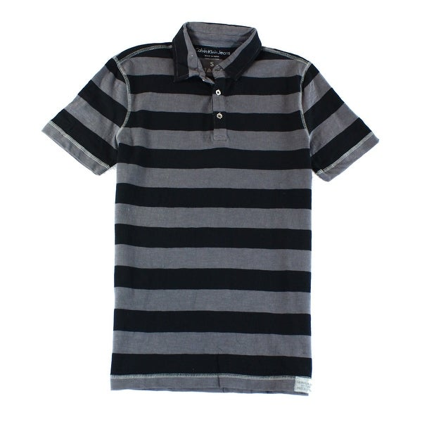 2e83bf03b Shop CALVIN KLEIN JEANS NEW Black Grey Mens XL Stripe Polo Rugby Shirt -  Free Shipping On Orders Over  45 - Overstock - 17144831