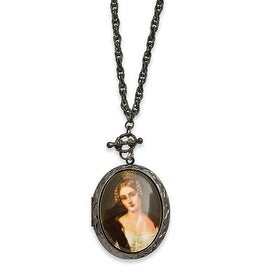 Black IP Woman Decal Locket Necklace - 30in