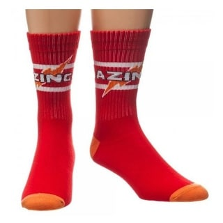 Big Bang Theory Bazinga Red Athletic Men's Crew Socks One Size Fits Most