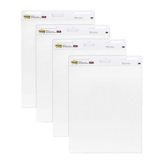 Post-it Self-Stick Unruled Easel Pad Value Added Pack, 25 x 30 in, White, Pad of 30 Sheets, Pack of 4