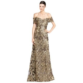 Rene Ruiz Off Shoulder Embellished Lace Mermaid Evening Gown Dress