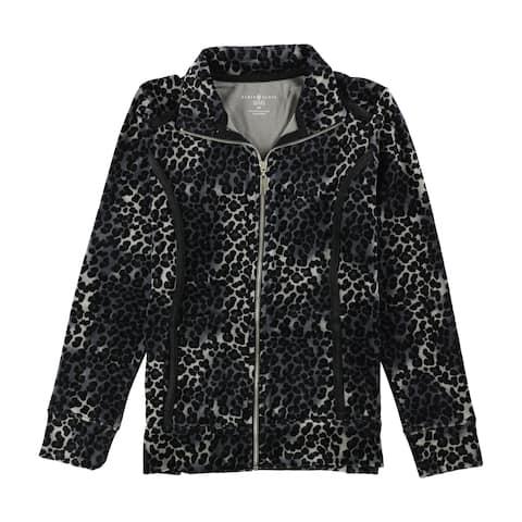 Karen Scott Womens Velour Print Track Jacket - PP