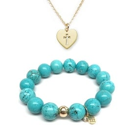 "Julieta Jewelry Set 12mm Turquoise Magnesite Lauren 7"" Stretch Bracelet & 12mm Cross Heart Charm 16"" 14k Over .925 SS Necklace"