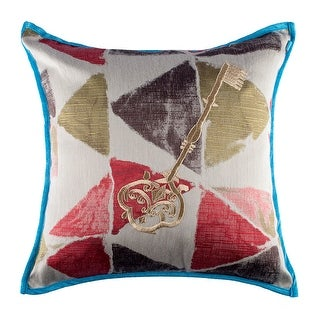 100% Handmade Imported Vintage Key Pillow Cover, Shades of Red, Brown and Gold, Blue Trim