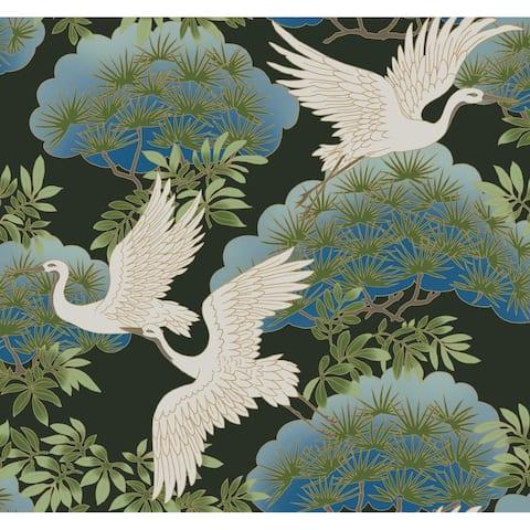 Glendora Sprig & Heron Black Wallpaper