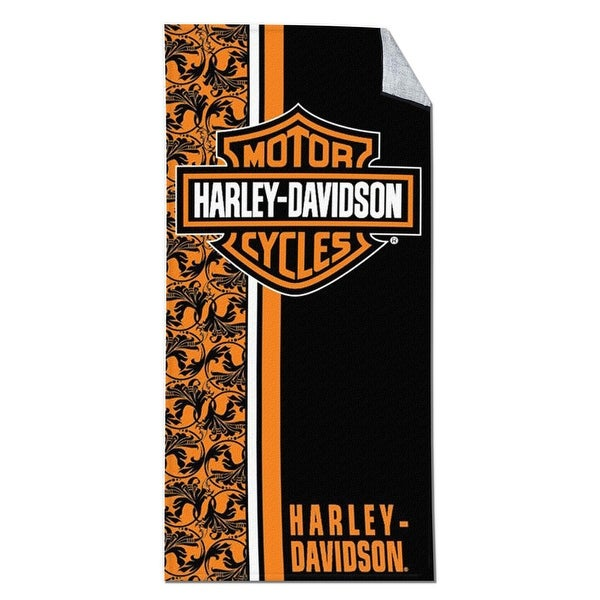 Harley Davidson Beach Towel Flowers Velour 30X60 Motorcycle Chopper Bath