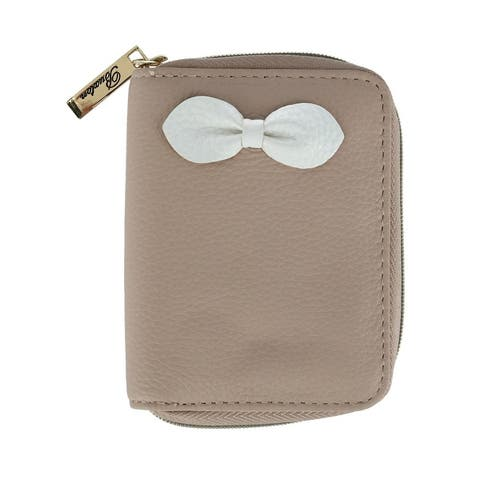 Buxton Women's Leather Zip-Around Key Case Wallet with Bow - one size