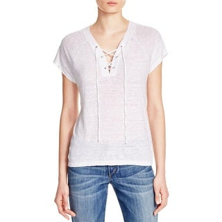 Monrow Womens Casual Top Burn Out Lace-Up - m