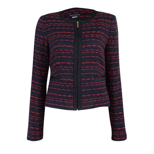 331a7af2 Shop Tommy Hilfiger Women's Tweed Zip-Front Blazer - Navy/Red - Free  Shipping On Orders Over $45 - Overstock - 18301414