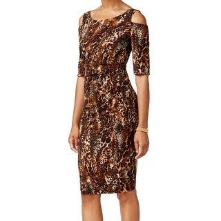 Connected Apparel NEW Brown Women's Size 12 Sheath Leopard Print Dress