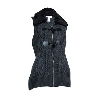 Charter Club Women's Faux Fur Toggle Knit Vest - Charcoal Heather - m