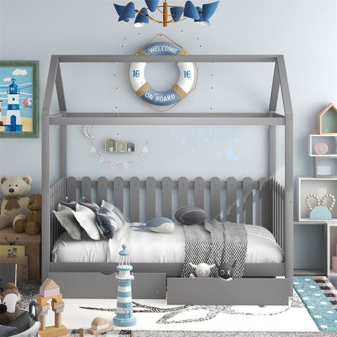 Merax Twin Size House Daybed with Drawers, Fence-shaped Guardrail