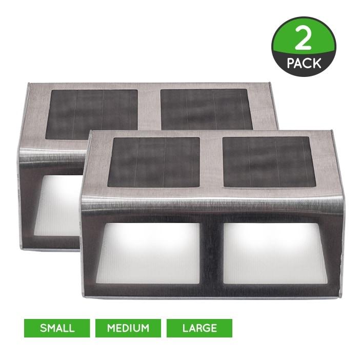 Solar Stainless Steel Step Perimeter Lighting (2 Pack) - 3 Sizes - Thumbnail 0