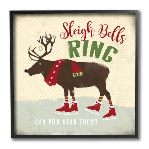 Stupell Industries Sleigh Bells Ring Christmas Reindeer Ice Skating Framed Wall Art, 12 x 12 - Multi-Color