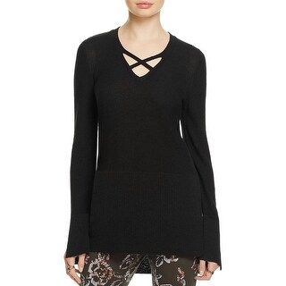 Free People Womens Pullover Sweater Criss Cross Side Slits