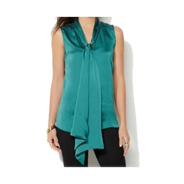 f51c8c496921c2 Shop IMAN NEW Emerald Green Womens Size Medium M Satin Tie-Front Blouse -  Free Shipping On Orders Over  45 - Overstock - 18797180