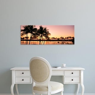 Easy Art Prints Panoramic Images's 'Sunset, Anaehoomalu Beach, Hawaii, USA' Premium Canvas Art