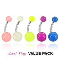 5 Pcs Pack of Assorted Color Stainless Steel Navel Belly Button Ring with Glow In The Dark Balls