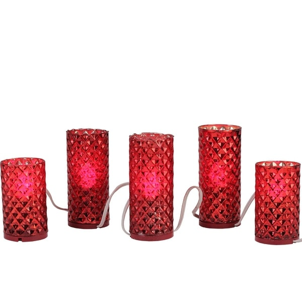 Set of 5 Red Diamond Faceted Mercury Glass Flameless Pillar Candle Christmas Lights