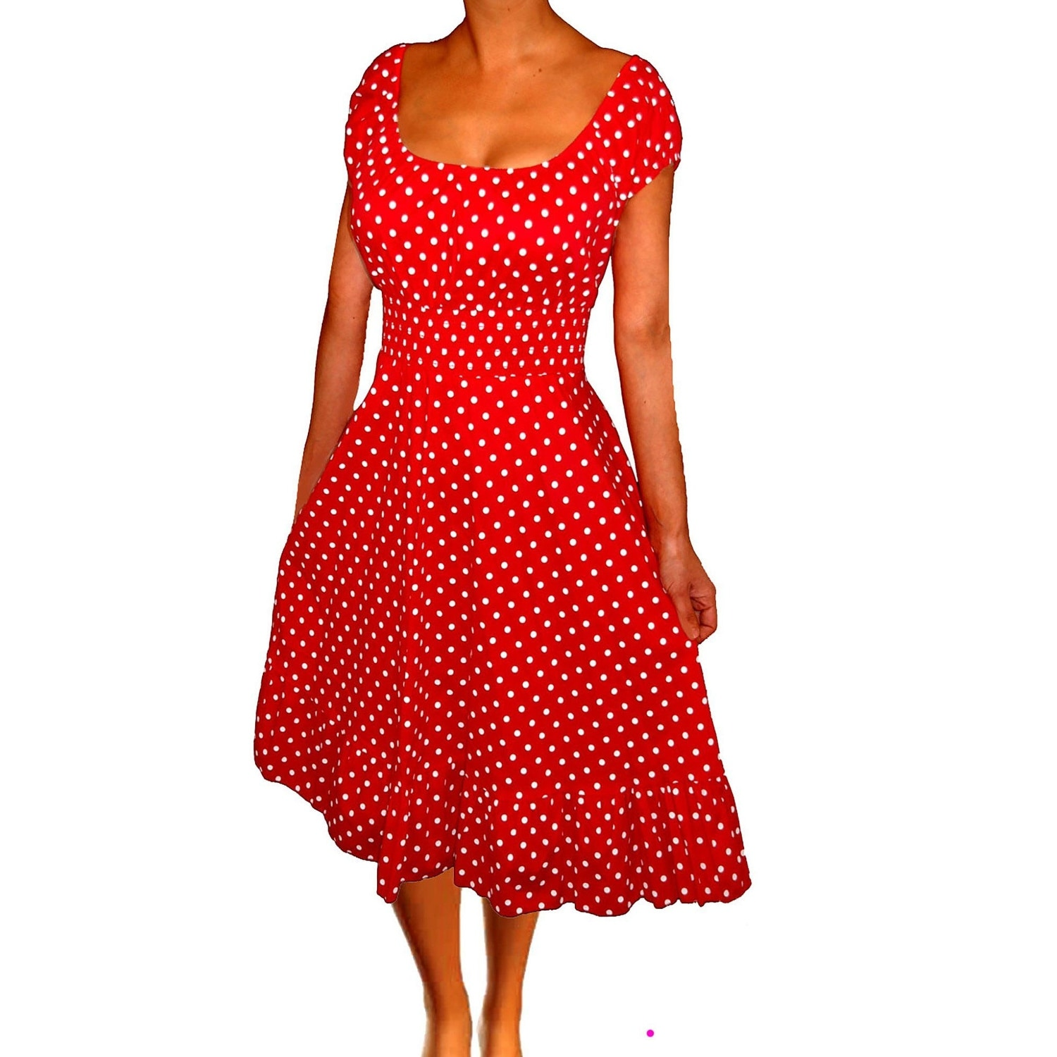 Funfash Women Plus Size Dress Red White Polka Dots Retro Rockabilly