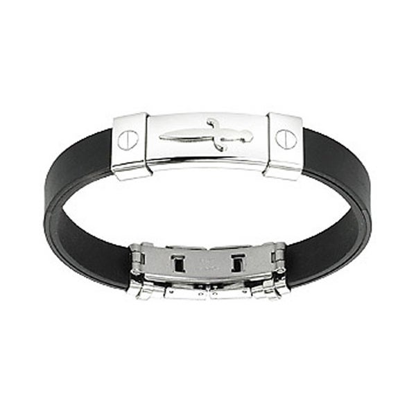 Stainless Steel Pirate's Dagger ID Plate Rubber Bracelet (10 mm) - 7.25 in