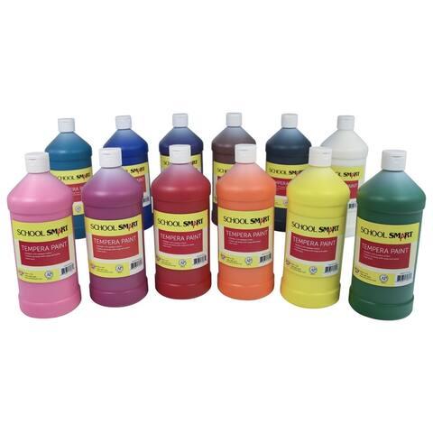 School Smart Tempera Paint Set, Assorted Colors, Quart Set of 12