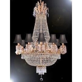 Swarovski Crystal Trimmed Empire Chandelier Lighting   Black Shades