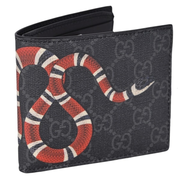 f6bfd88a70d7 Shop Gucci Men's Grey GG Supreme Canvas King Snake Bifold Wallet - M ...
