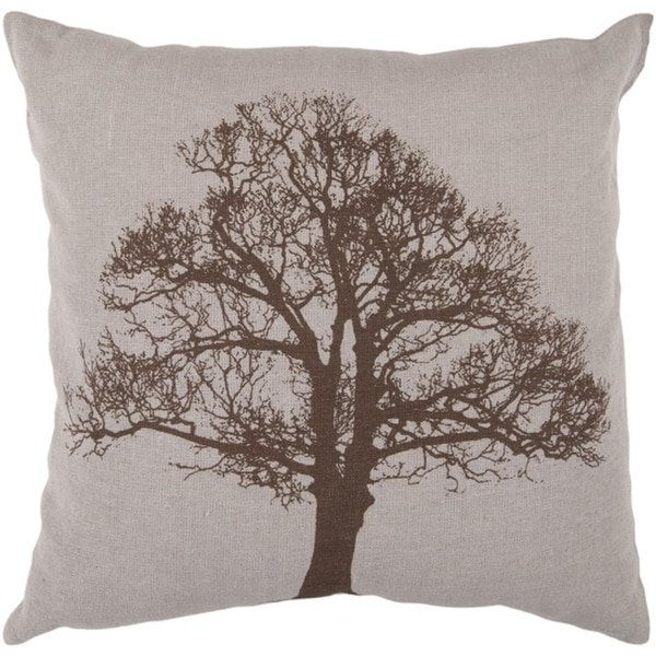 """22"""" Natural Tree Silhouette Gray and Coffee Brown Decorative Down Throw Pillow"""