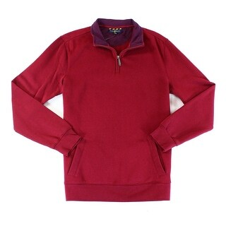 Club Room NEW Red Men Size Large L 1/2 Zip Mock Neck Ribbed-Knit Sweater