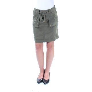 INC Womens Green Belted Above The Knee Pencil Skirt  Size: Size 0