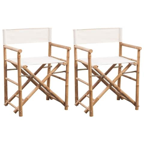 vidaXL Folding Director's Chair 2 pcs Bamboo and Canvas